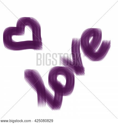Luminescent Lettering In Letters Love Pink Light Luminous Color With Small Threads