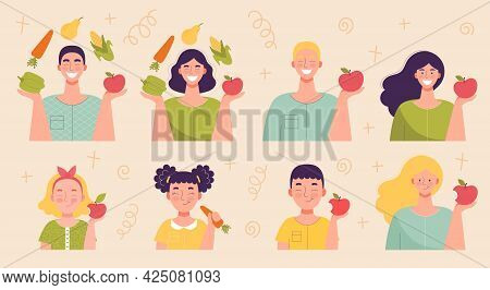 Adult Men And Women And Children With Fruits And Vegetables. Healthy Food, Vitamins, Harvesting, Veg