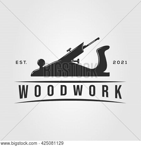 Planer Woodwork Carpentry Logo. Joinery Handyman Symbol Vector Illustration Design