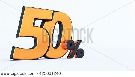 3d Render Of Discount Fifty 50 Percent Off Isolated On White Background