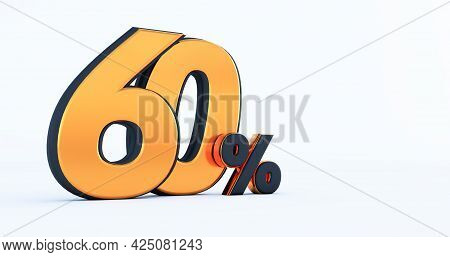 3d Render Of Discount Sixty 60 Percent Off Isolated On White Background