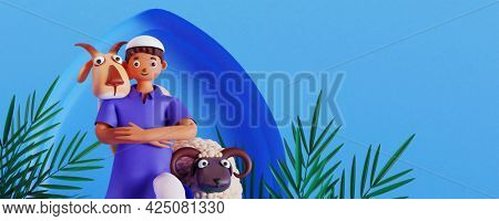 3D render of Muslim man with goat and sheep against blue background. Islamic festival of sacrifice Eid-Ul-Adha concept.