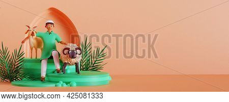 3D render of Muslim man with goat and sheep. Islamic festival of sacrifice Eid-Ul-Adha concept.