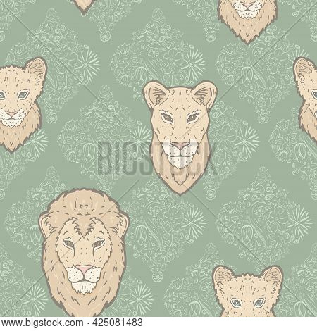 Vector Lion Family On Sage Green Flowerly Tiles Seamless Pattern Background. Perfect For Fabric, Scr