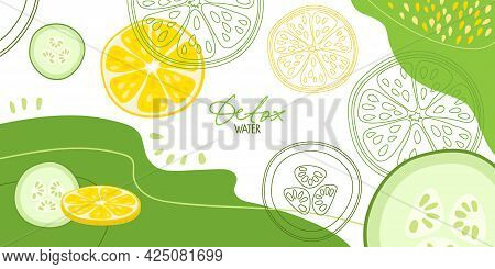 Lemon And Cucumber On Abstract Background. Fresh Farm Vegetables For Diet. Detox Water. Flat Design