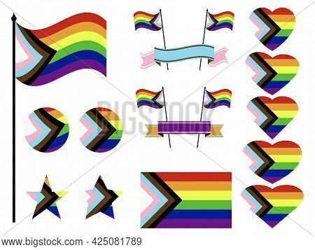 Progress Pride Flag Collection Of Symbols. Hearts, Stars And Circles With Progress Lgbtq Flag. Sexua