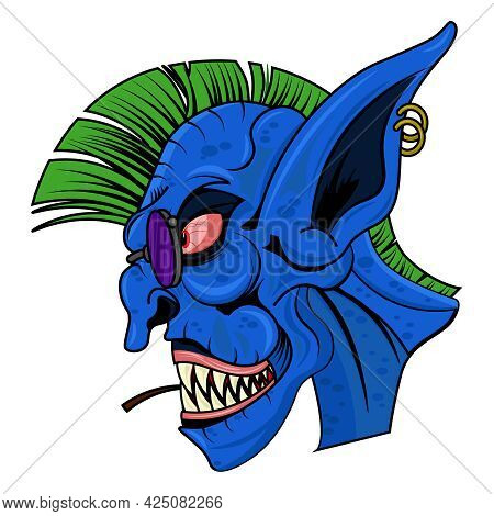 Scary Goblin Punk With A Mohawk. Vector Illustration On The Theme Of Fairy Tales And Legends.