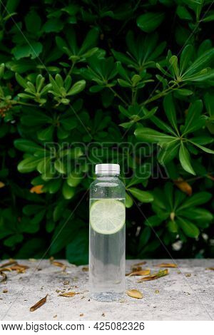 Bottle Of Water With Slice Of Lime Stands On A Tile In Front Of A Green Bush