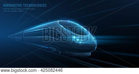 Fast Move Of Express Passenger Train On High Speed Intercity Railway. Isolated On Blue. Futuristic T