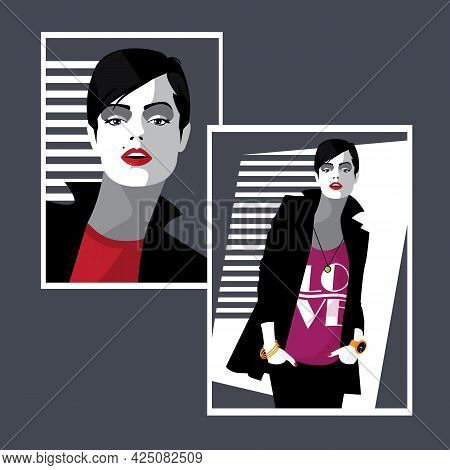 Pop Art Fashion Face. Sexy Stylish Woman On Grey Background.