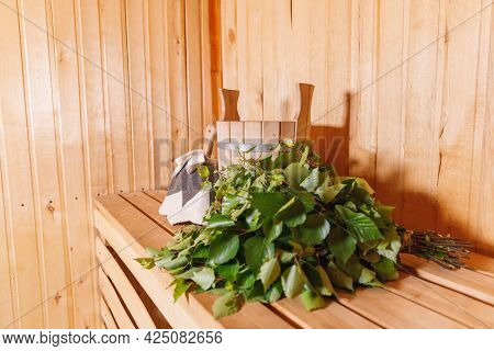 Traditional Old Russian Bathhouse Spa Concept. Interior Details Finnish Sauna Steam Room With Tradit