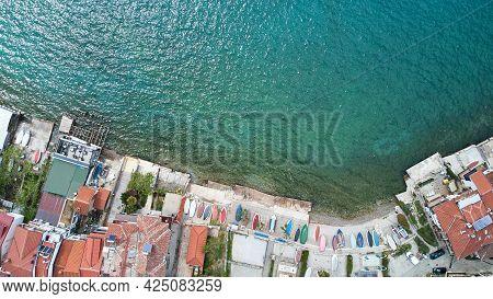Aerial View Of Ohrid City. Lake Ohrid. North Macedonia