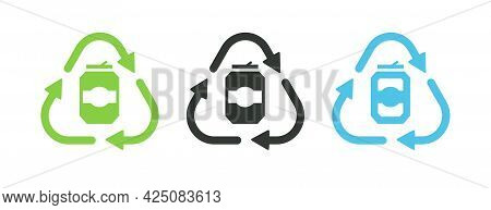 Recycle Aluminum Can Recycle Symbol Isolated On White Background For Eco Product, Nature Market, Zer