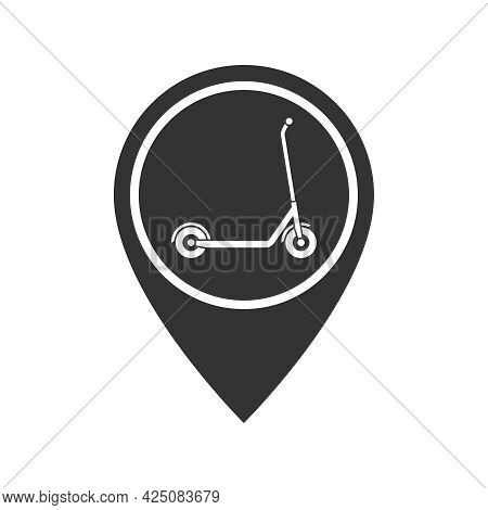 Map Pointer With Kick Scooter Graphic Icon. Rent A Kick Scooter Sign Isolated On White Background. S