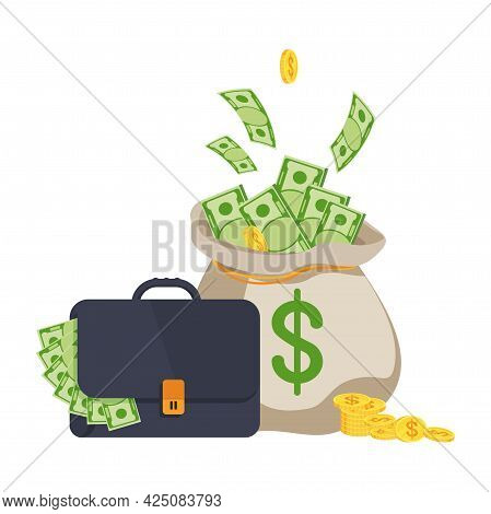 Suitcase Full Of Money And Money Bag With Banknotes.