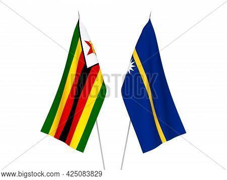 National Fabric Flags Of Zimbabwe And Republic Of Nauru Isolated On White Background. 3d Rendering I
