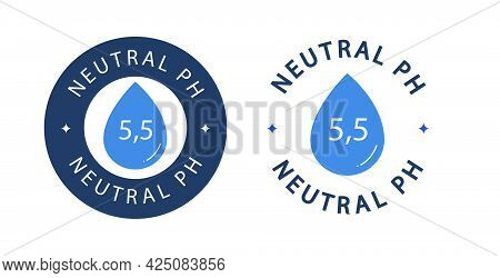 Neutral Ph Symbol Vector With Drop Range 5, 5 - Neutral Balance Skin Emblem Isolated On White Backgr