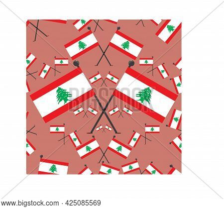Vector Illustration Of Pattern Lebanon Flags And Pink Colors Background.