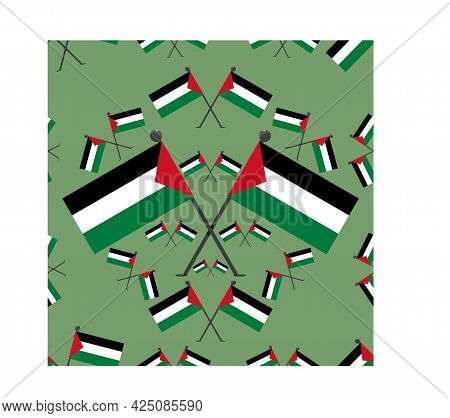 Vector Illustration Of Pattern Palestine Flags And Green Colors Background.