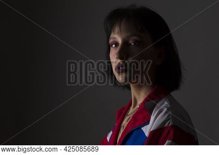 Violence Concept. Young Caucasian Female Victim Of Domestic Family Violence And Abuse With Multiple
