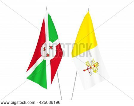 National Fabric Flags Of Vatican And Burundi Isolated On White Background. 3d Rendering Illustration
