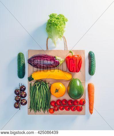 Some Vegetables Delivered To Home In Paper Bag