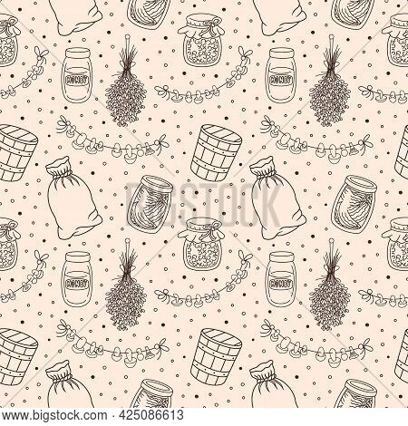 Vintage home pantry, kitchen, vegan food supplies seamless pattern. Preserves, glass jar, canned jam, honey and pickles, old wooden bucket, canvas sack, dried lavender and mushrooms. Vector background