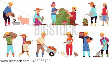 Farmers At Work. Agriculture Workers, Isolated Farmer Harvesting. Industrial Farming, Agricultural P