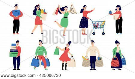 Flat People On Shopping. Shop Person, Woman With Present. Retail Shoppers Characters, In Store With