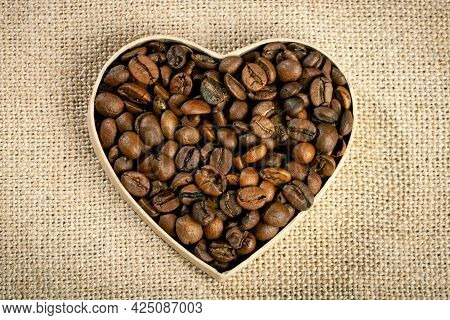 Closeup Of Coffee Beans. Background With Copy Space. Horizontal. Selective Focus.