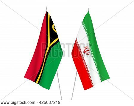 National Fabric Flags Of Iran And Republic Of Vanuatu Isolated On White Background. 3d Rendering Ill