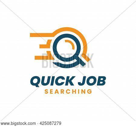 Quick Job Logo Template Design. Fast Search Logo. Logistic Delivery Vector Illustration