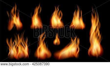 Realistic Fire. Bright Flames, Fires Flame Isolated On Black. Smoke Effect, Fireplace Or Burn Torch