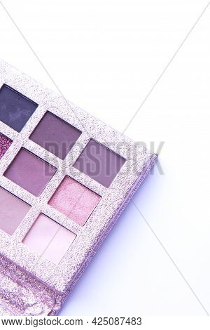 Eyeshadow Colorful Palette For Makeup On A White Background