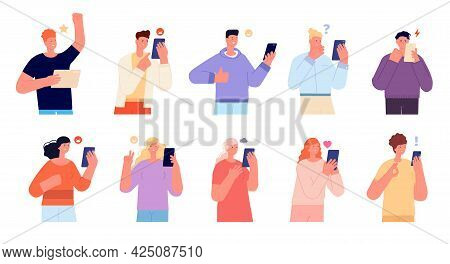 Emotional Conversation. Persons Talking, Young Friends Talk On Phone. Persons Group Asking Online He