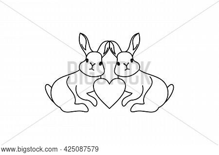 Rabbit Heart Icon Isolated On White Background From Valentine's Collection. Rabbit Love Icon Thin Li