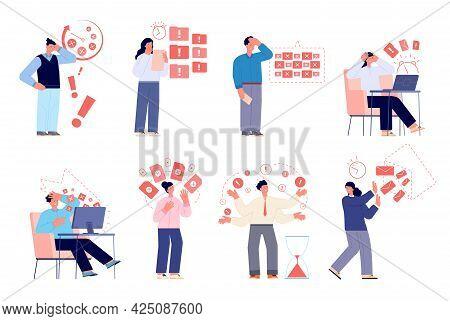 Work Deadline. Stressed Employer, Businessman Hard Working. Stress Corporate Workflow. Corporative D