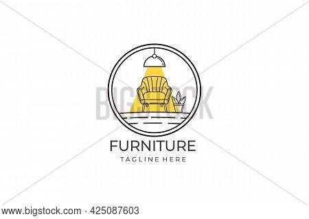 Furniture Logo. Home Interior Logo Design And Monoline Style Furniture On Set. Furniture For Use Sym