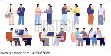 Company Hr Recruiting. Professionals Meet, Recruit Job Interview. Man With Computer Interviewed Empl