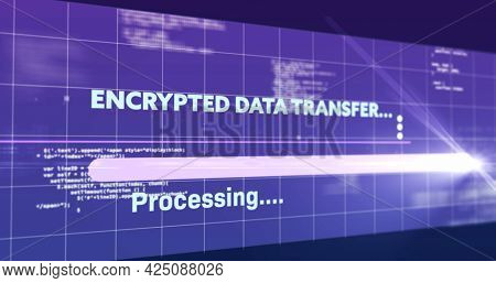 Image of encrypted data transfer text flickering digital interface on screen. global connections, data processing, computing and digital interface concept digitally generated image.