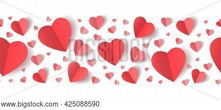 Paper Hearts Border. St Valentines Heart Fold Horizontal Seamless Pattern For Banners Headers, Love