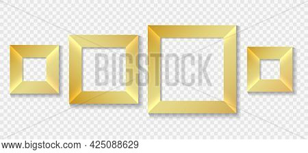 Square Golden Frames. Isolated Gold Modern Frame Set, Wall Portrait Or Photo Vector Blank Borders, C