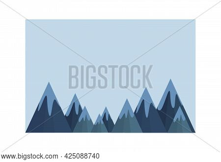 Ready-made Background With Mountains For The Site Of A Ski Resort, Country Club, Recreation Center.