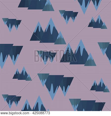 Seamless Pattern Of Blue Mountains On A Pale Purple Background.  For Bed Linen, Packaging Paper, Box