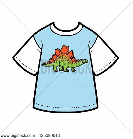 T-shirt With Drawing Cartoon Stegosaurus For Boy Color Variation For Coloring On A White Background