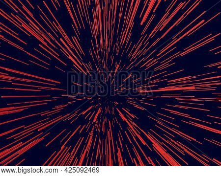 Background With Acceleration Effect. Red Geometric Shapes On A Dark Background. 3d. Vector Illustrat