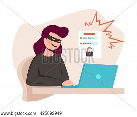 Woman Hacker. Young Girl Cybercrime, Female Hacking Account Of Social Media Or Online Bank Vector Co