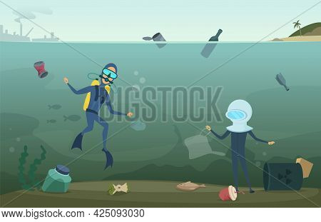 Ecology Problems. Water Pollution, Scuba Divers In Ocean Collect Waste. Eco Catastrophe, Trash In Se
