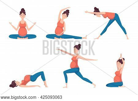 Yoga Pregnant. Relaxed Poses For Pregnant Characters Sport Health Recreation Education Exact Vector