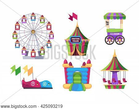 Amusement Park. Outdoor Attraction For Kids Swing Game Machines Catapult Carousel Inflatable Trampol